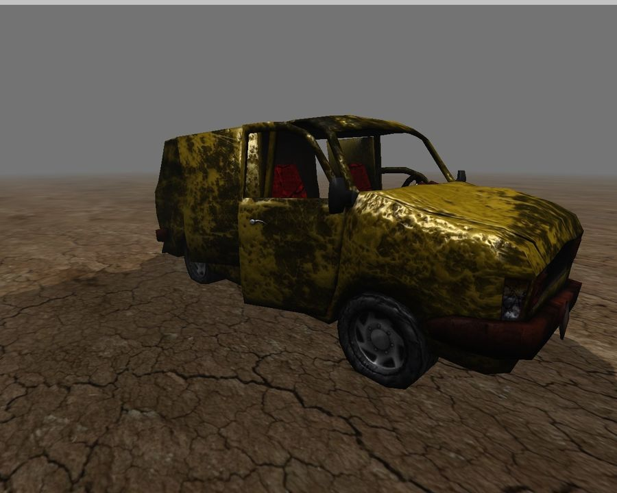 wrecked van 01 royalty-free 3d model - Preview no. 5