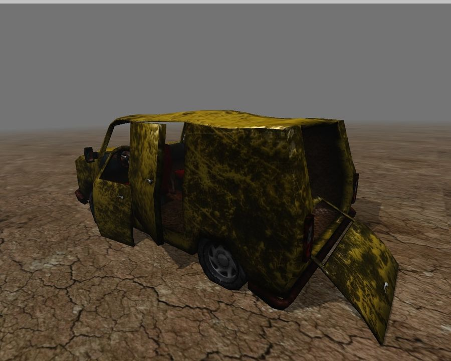 wrecked van 01 royalty-free 3d model - Preview no. 2