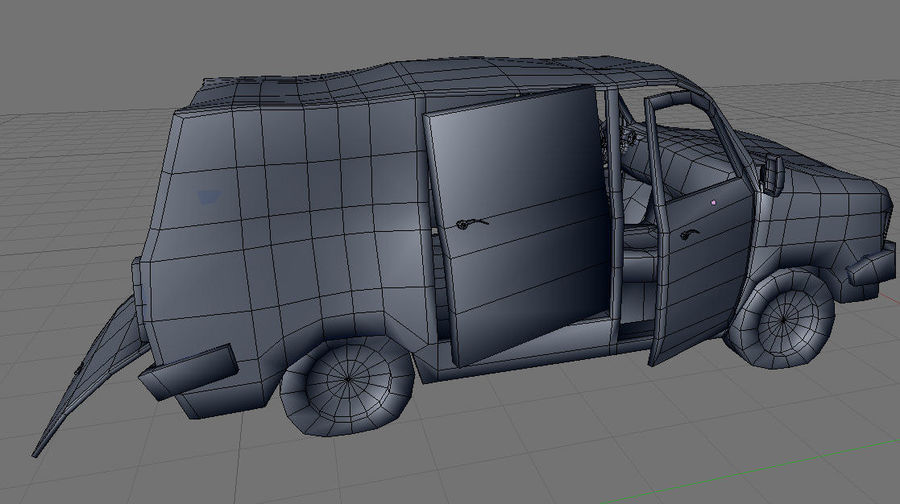 wrecked van 01 royalty-free 3d model - Preview no. 8