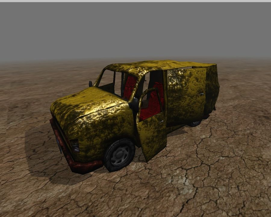 wrecked van 01 royalty-free 3d model - Preview no. 1