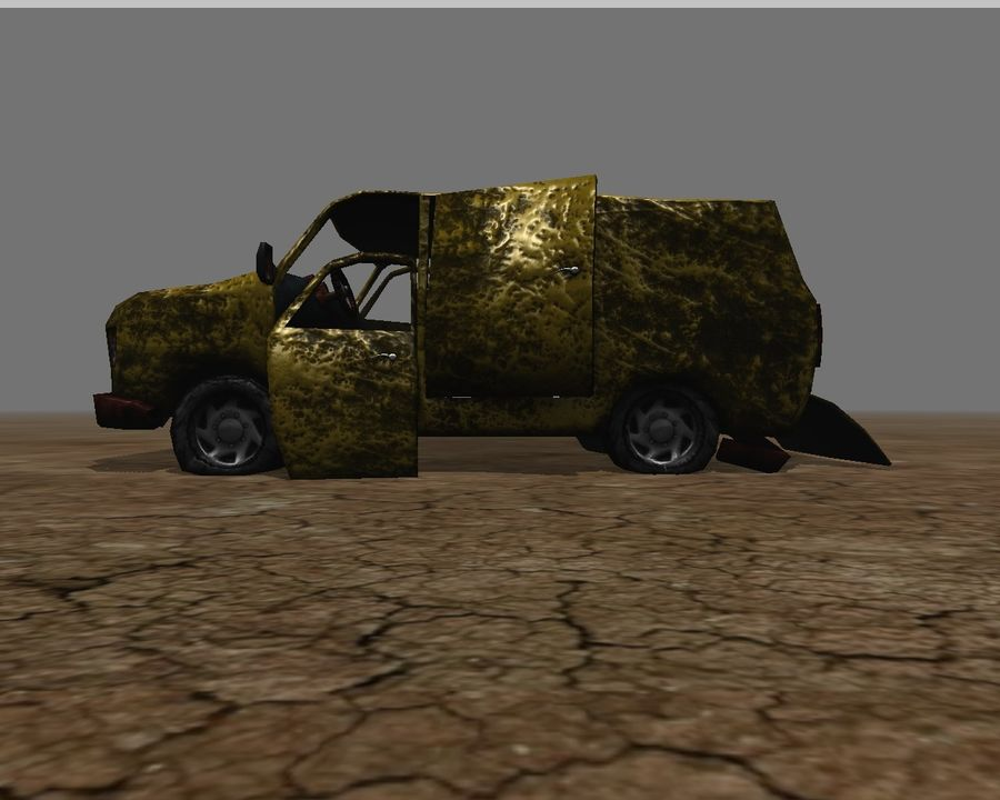 wrecked van 01 royalty-free 3d model - Preview no. 4