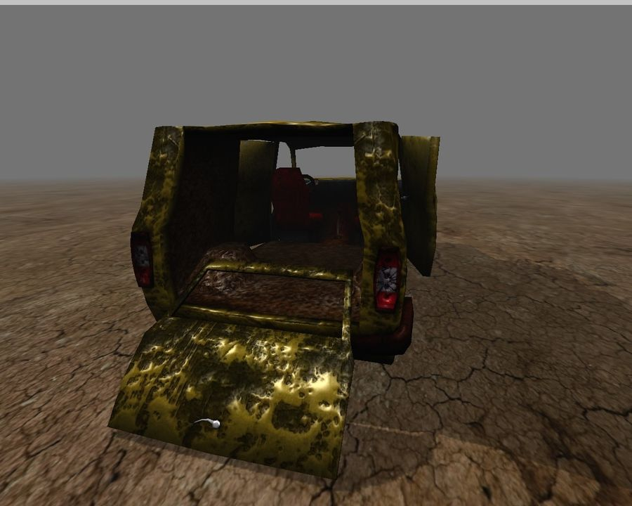 wrecked van 01 royalty-free 3d model - Preview no. 6