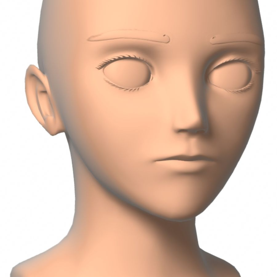 Anime Head Mesh(1) royalty-free 3d model - Preview no. 3
