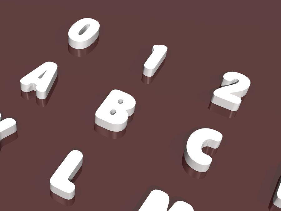 fler alfabetbokstäver och tecken i 3 teckensnitt royalty-free 3d model - Preview no. 2