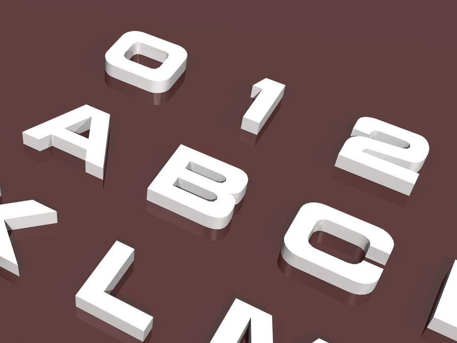 fler alfabetbokstäver och tecken i 3 teckensnitt royalty-free 3d model - Preview no. 6
