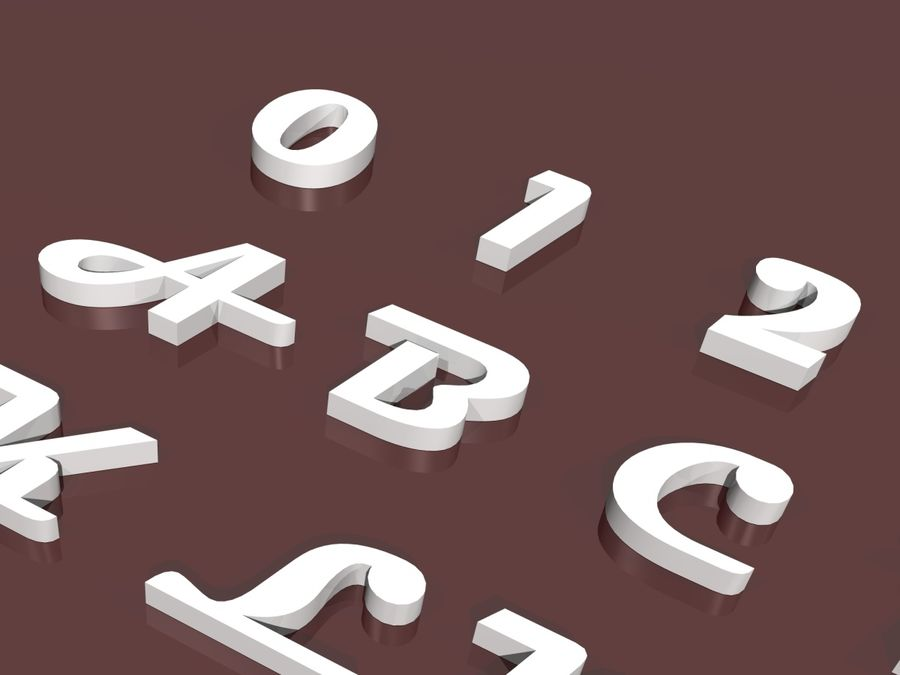 fler alfabetbokstäver och tecken i 3 teckensnitt royalty-free 3d model - Preview no. 4