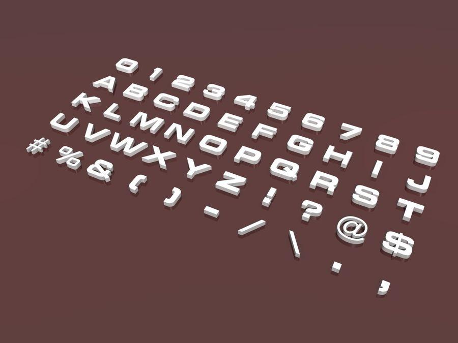 fler alfabetbokstäver och tecken i 3 teckensnitt royalty-free 3d model - Preview no. 1