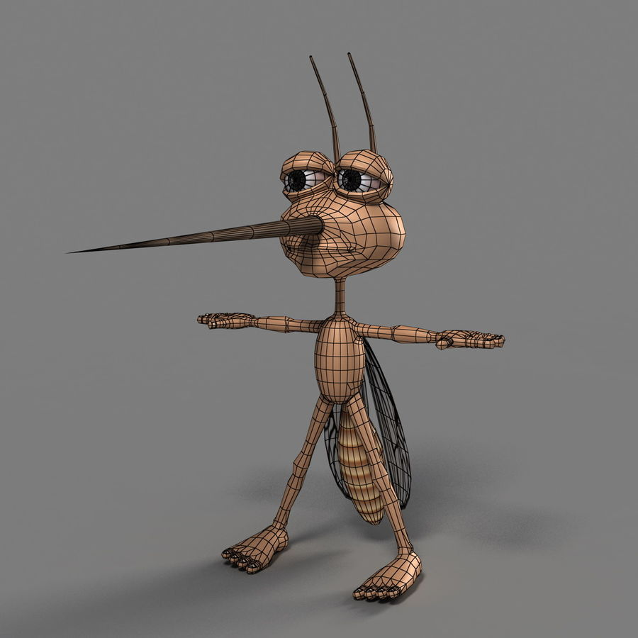 Mosquito Cartoon 01 royalty-free 3d model - Preview no. 10