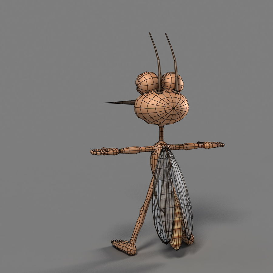 Mosquito Cartoon 01 royalty-free 3d model - Preview no. 11