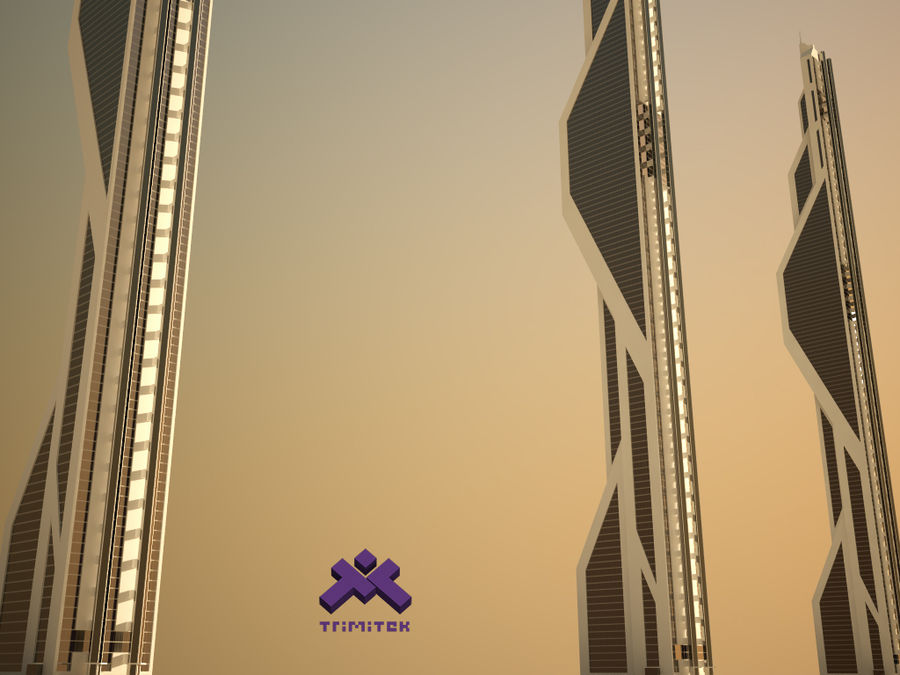 Futuristic Sci-Fi Skyscraper royalty-free 3d model - Preview no. 5
