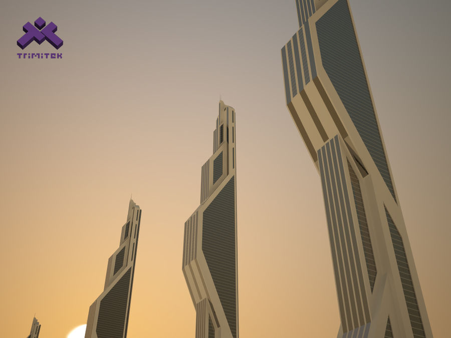 Futuristic Sci-Fi Skyscraper royalty-free 3d model - Preview no. 3