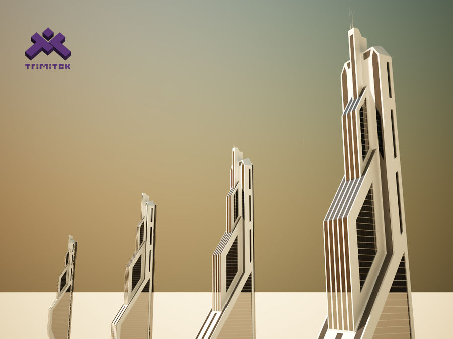 Futuristic Sci-Fi Skyscraper royalty-free 3d model - Preview no. 8