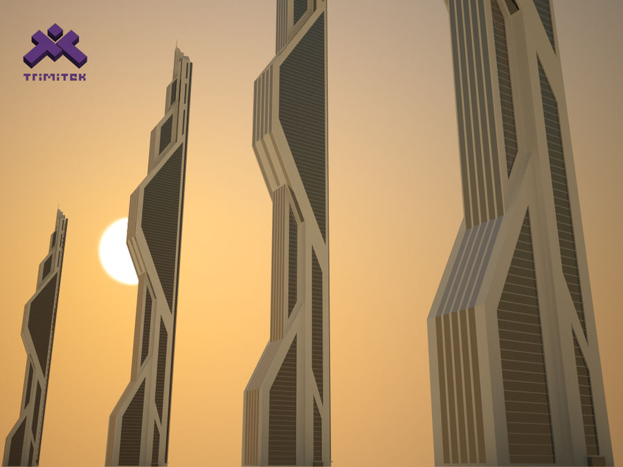 Futuristic Sci-Fi Skyscraper royalty-free 3d model - Preview no. 1