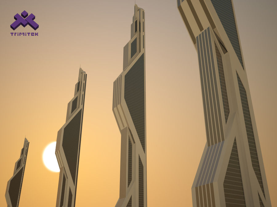 Futuristic Sci-Fi Skyscraper royalty-free 3d model - Preview no. 2