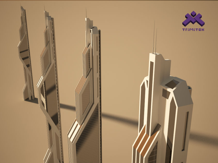 Futuristic Sci-Fi Skyscraper royalty-free 3d model - Preview no. 9