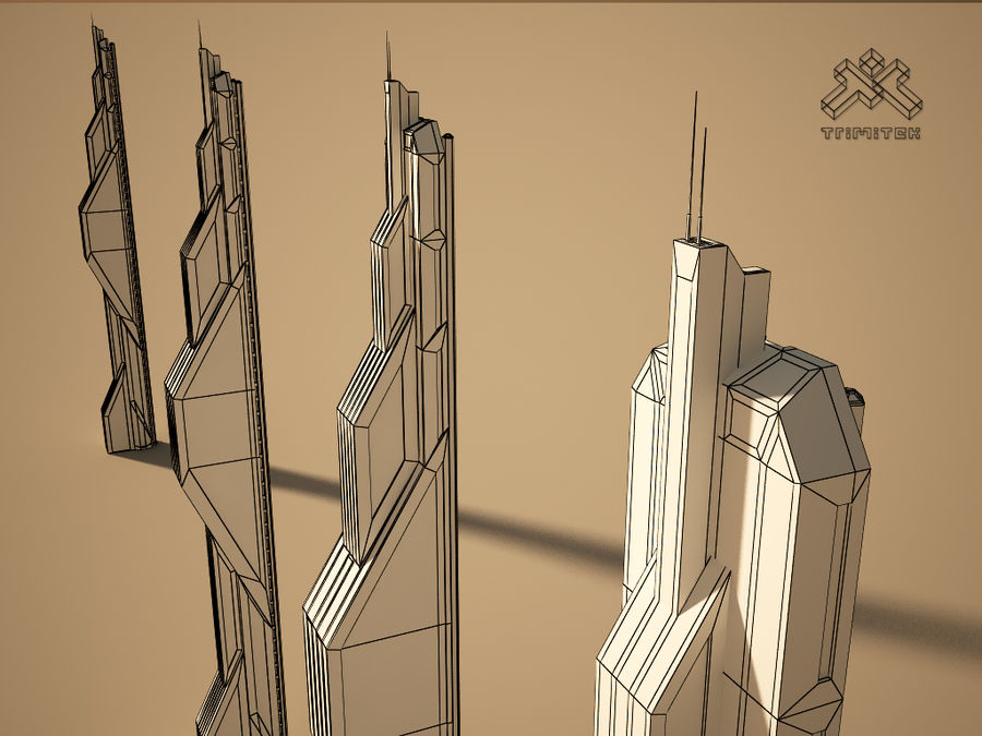 Futuristic Sci-Fi Skyscraper royalty-free 3d model - Preview no. 10