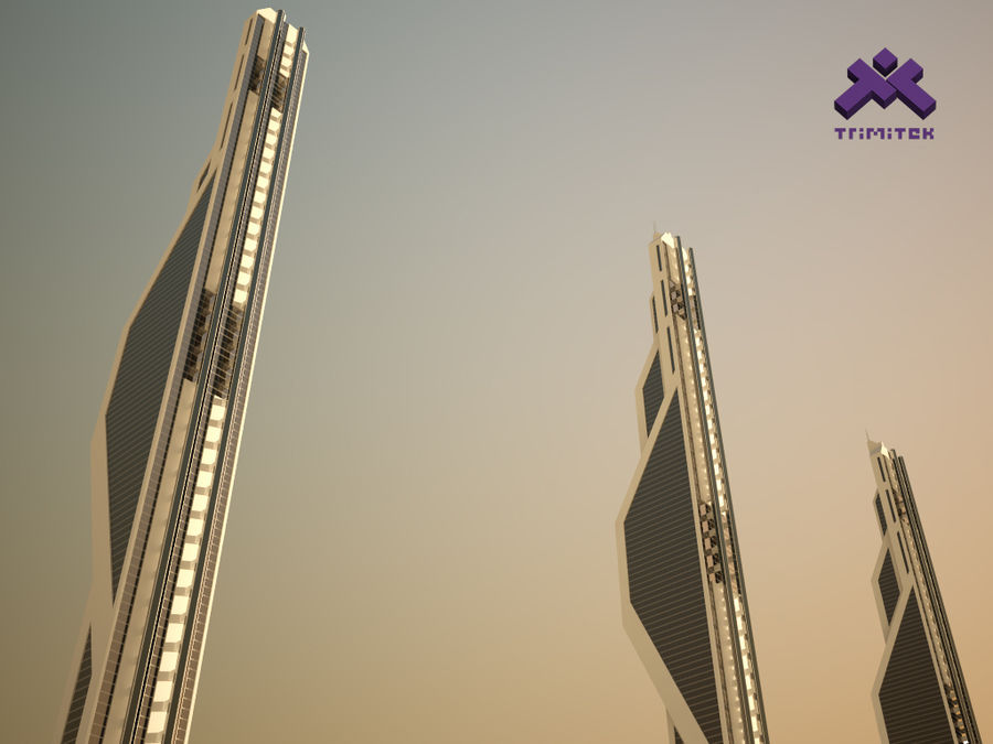Futuristic Sci-Fi Skyscraper royalty-free 3d model - Preview no. 6