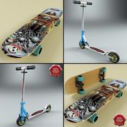 Micro Scooter och Skateboard 3d model