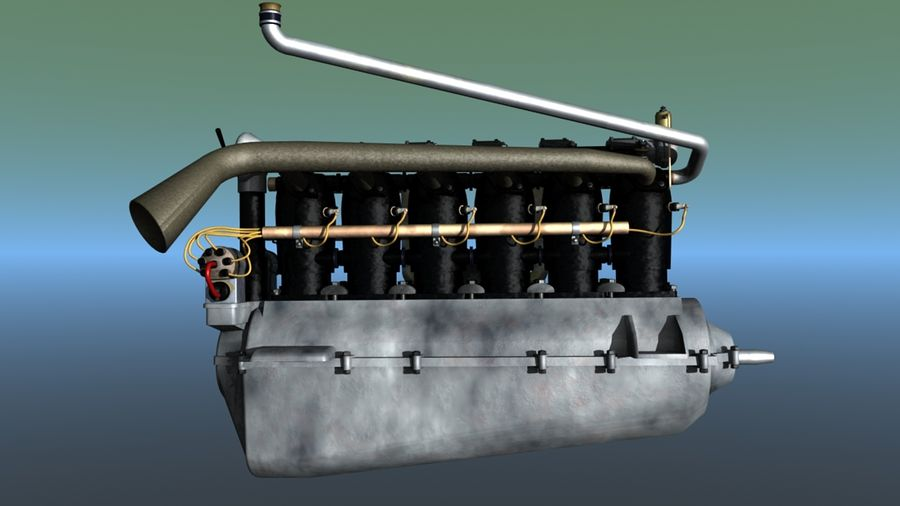 Mercedes D inline 6 WW1 engine royalty-free 3d model - Preview no. 4
