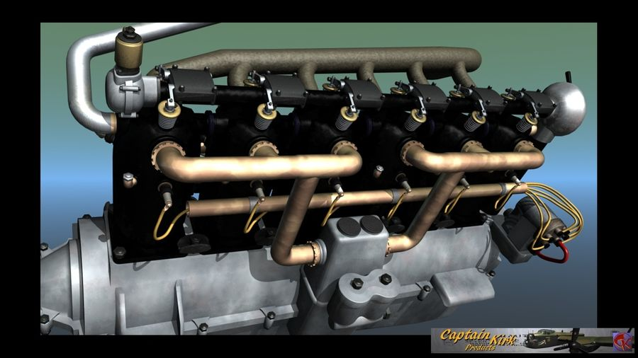 Mercedes D inline 6 WW1 engine royalty-free 3d model - Preview no. 1