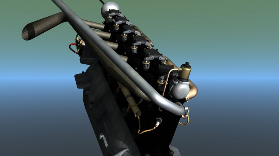 Mercedes D inline 6 WW1 engine royalty-free 3d model - Preview no. 3