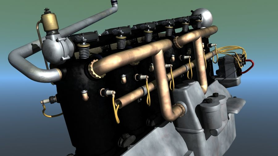 Mercedes D inline 6 WW1 engine royalty-free 3d model - Preview no. 2