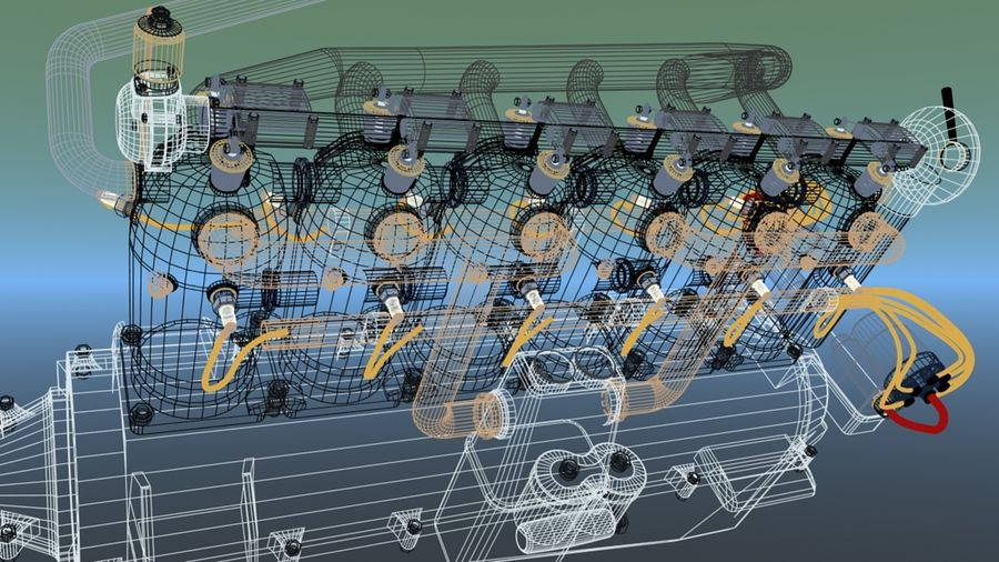 Mercedes D inline 6 WW1 engine royalty-free 3d model - Preview no. 5
