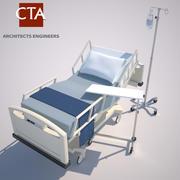 Hospital Bed, Table, & IV 3d model