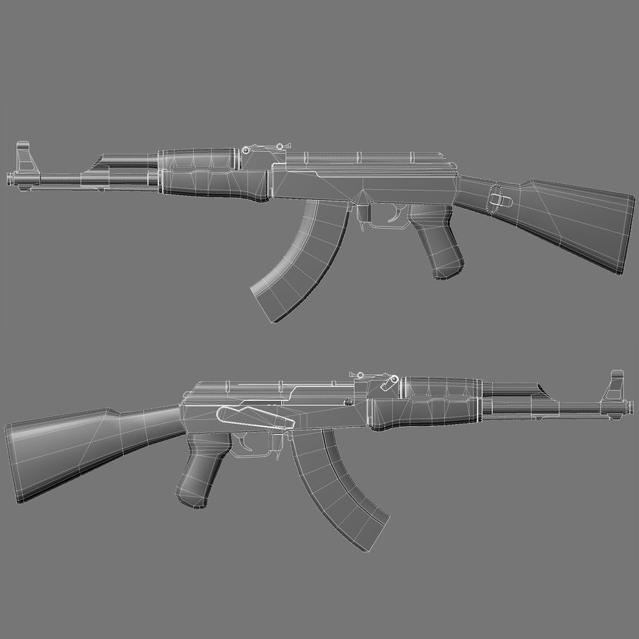 AK 47 royalty-free 3d model - Preview no. 14