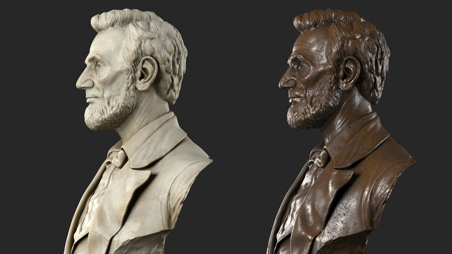 Abraham Lincoln Bust royalty-free 3d model - Preview no. 3