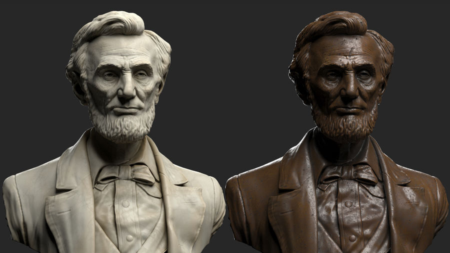 Abraham Lincoln Bust royalty-free 3d model - Preview no. 4
