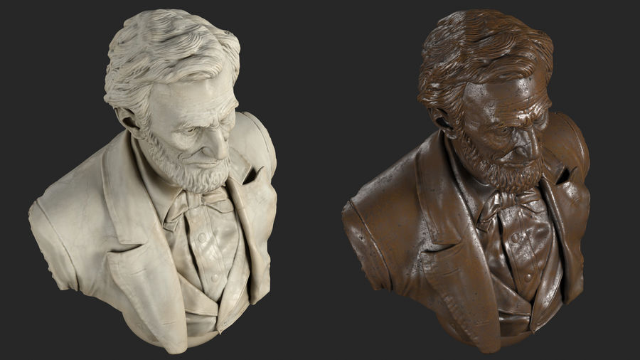 Abraham Lincoln Bust royalty-free 3d model - Preview no. 5