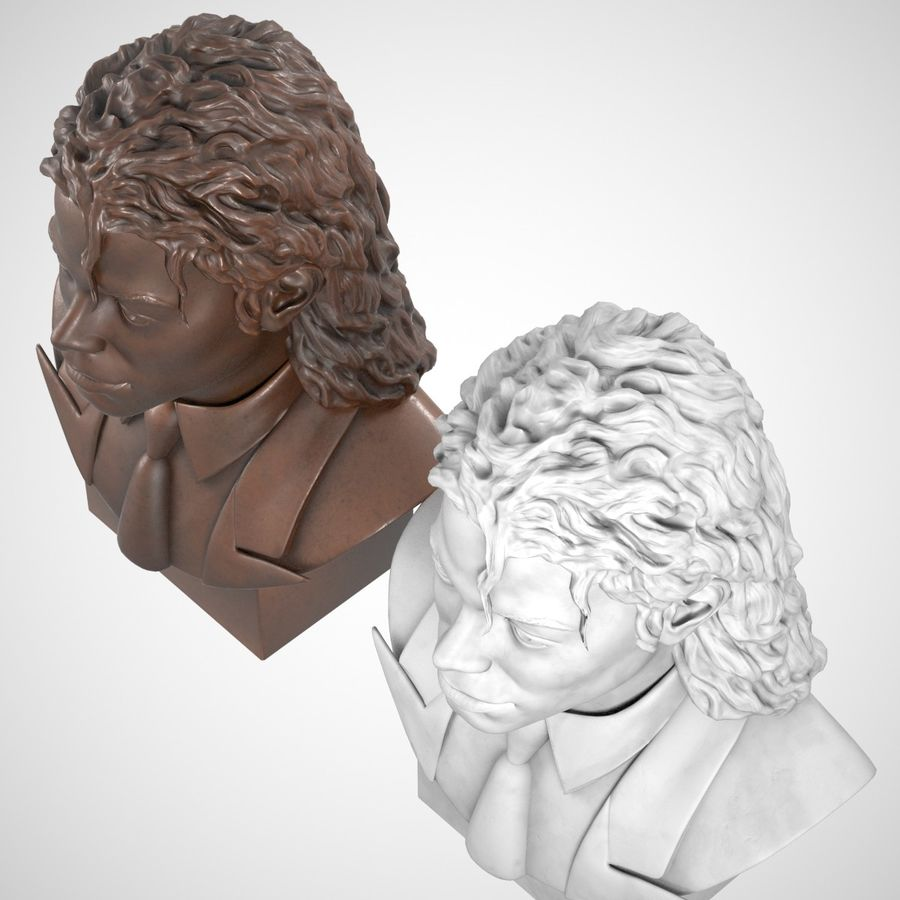 Michael Jackson Bust royalty-free 3d model - Preview no. 5