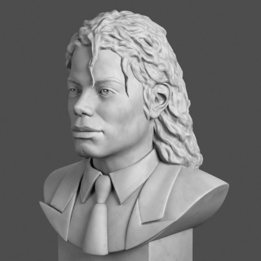 Michael Jackson Bust royalty-free 3d model - Preview no. 2