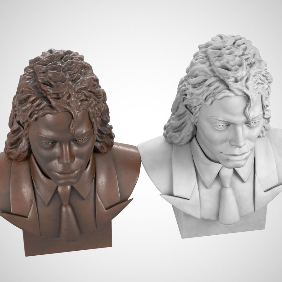 Michael Jackson Bust royalty-free 3d model - Preview no. 6
