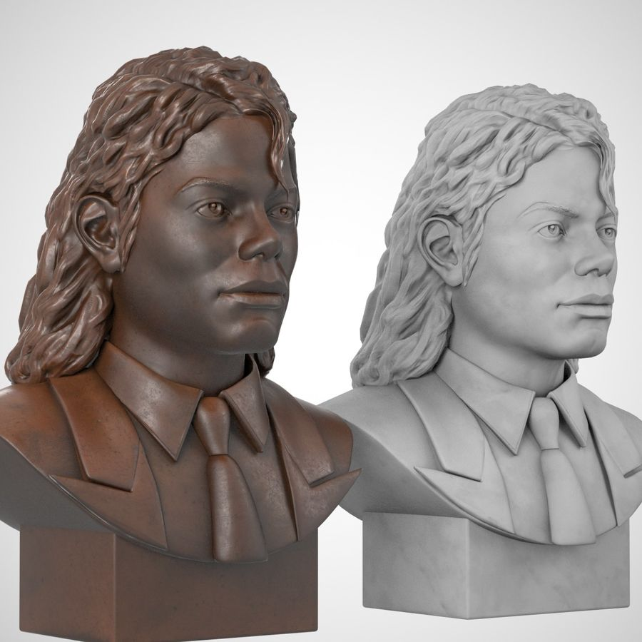 Michael Jackson Bust royalty-free 3d model - Preview no. 3