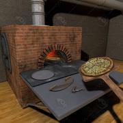 ピザの木のオーブンシーン 3d model