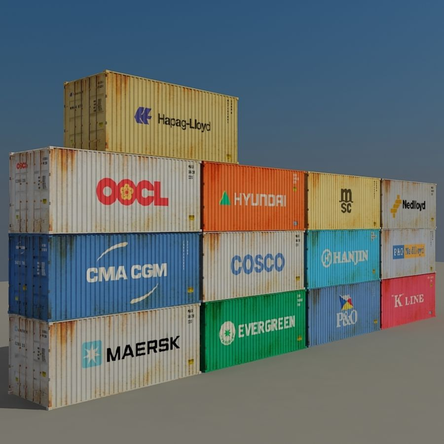 Cargo Containers Pack royalty-free 3d model - Preview no. 1