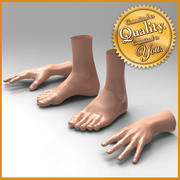 Human Male Feet Hand [Combo Pack] 3d model