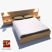 Bed and Lamps 3d model