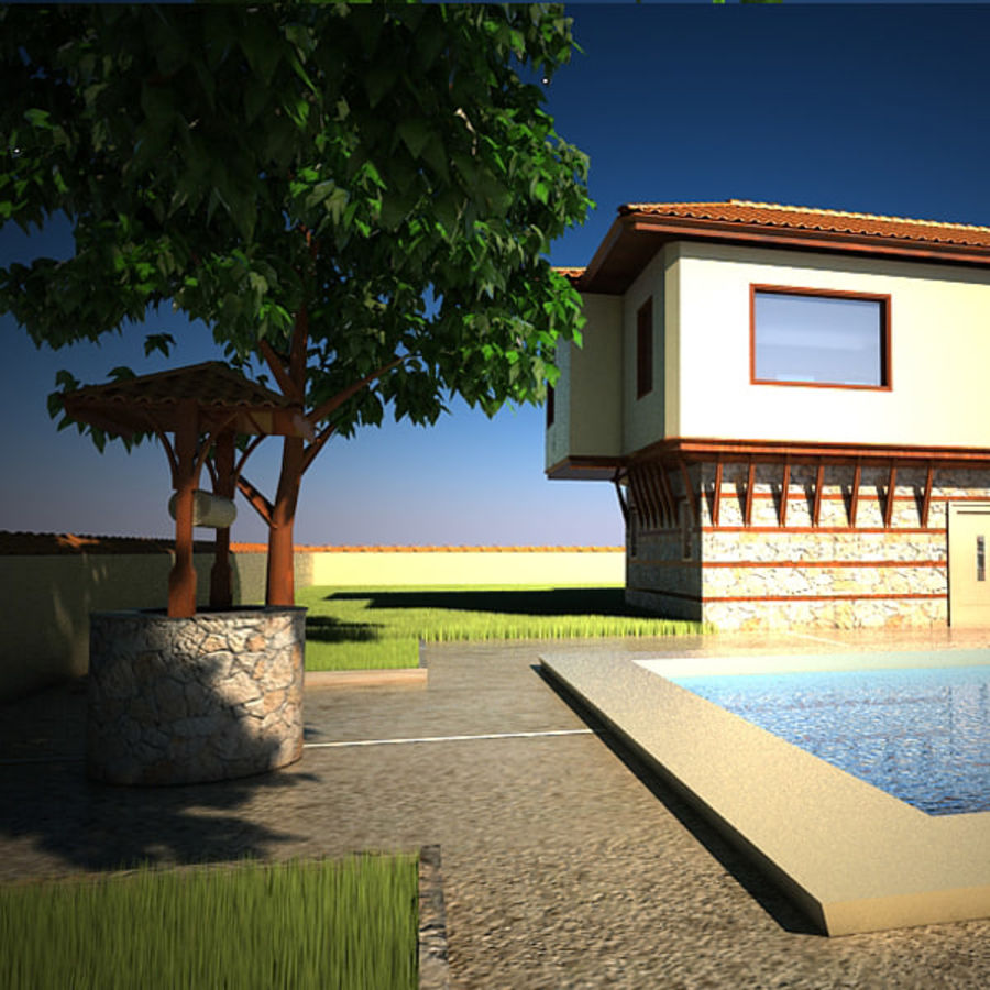 House With Swimming Pool royalty-free 3d model - Preview no. 5