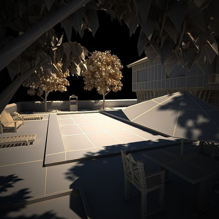 House With Swimming Pool royalty-free 3d model - Preview no. 25