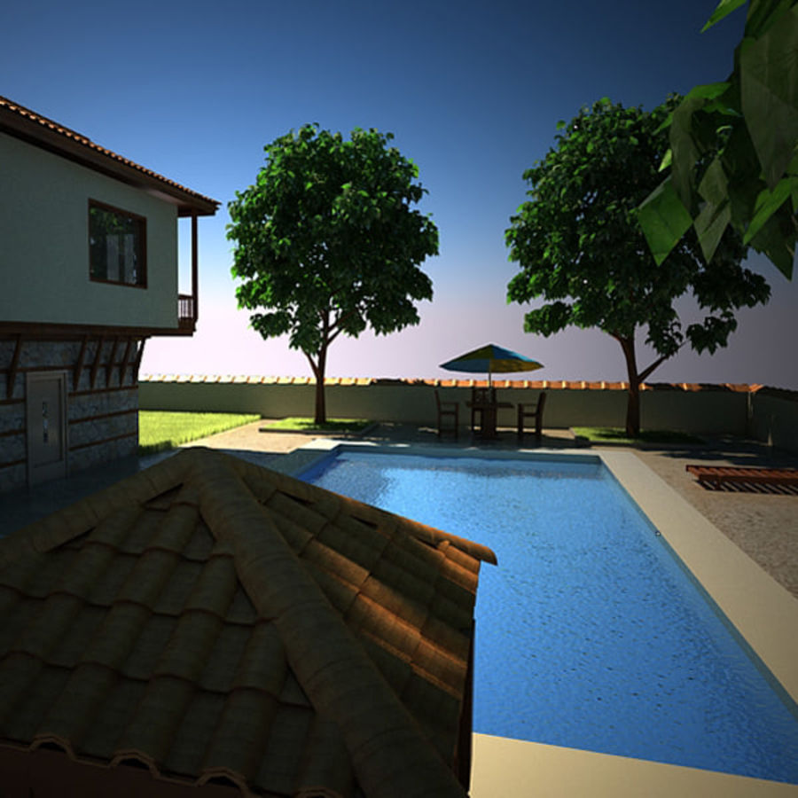 House With Swimming Pool royalty-free 3d model - Preview no. 12