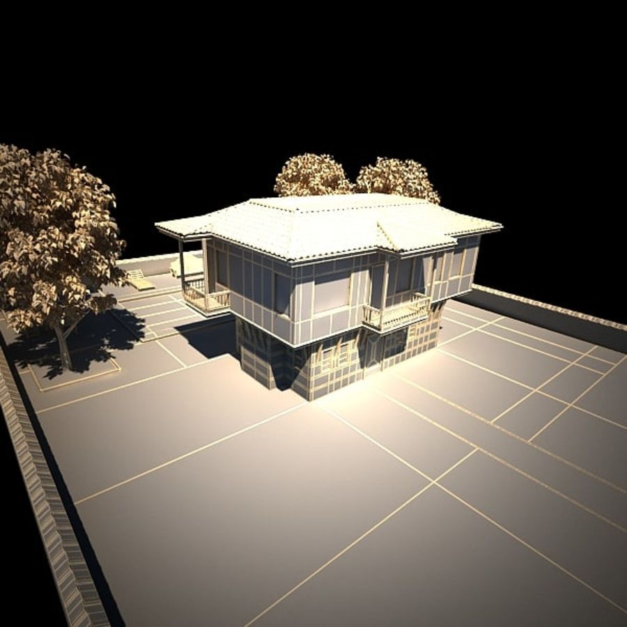 House With Swimming Pool royalty-free 3d model - Preview no. 22