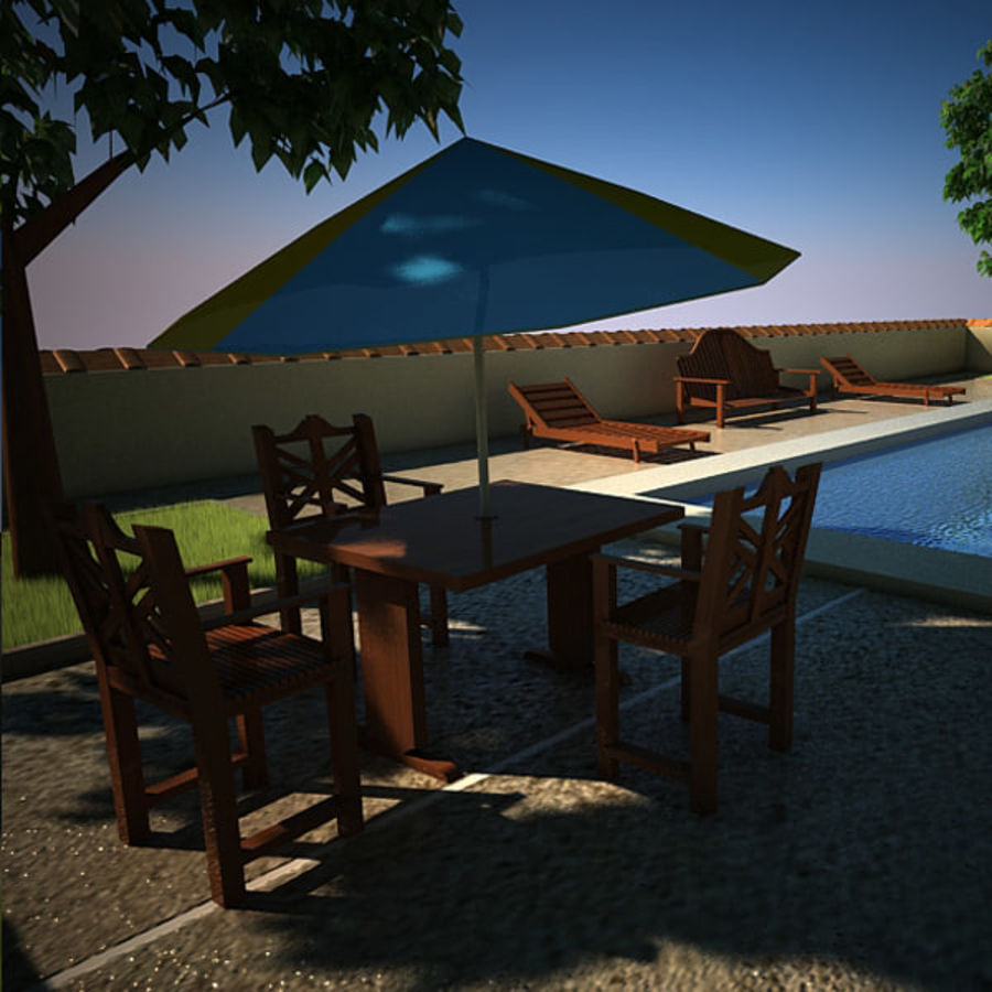 House With Swimming Pool royalty-free 3d model - Preview no. 6