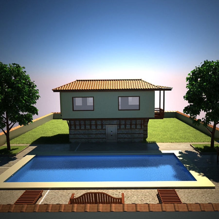 House With Swimming Pool royalty-free 3d model - Preview no. 15