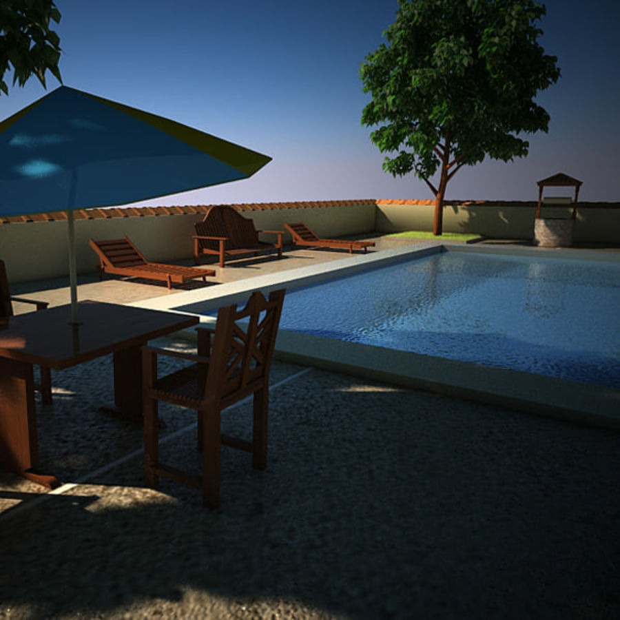 House With Swimming Pool royalty-free 3d model - Preview no. 7