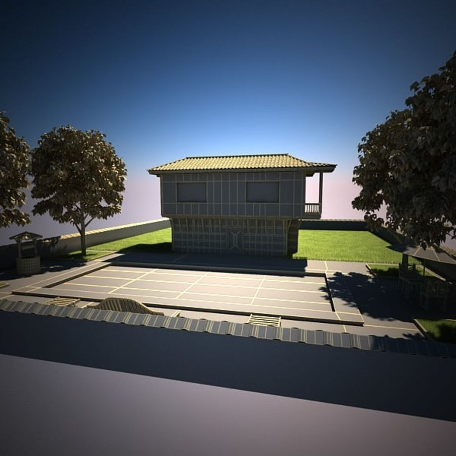 House With Swimming Pool royalty-free 3d model - Preview no. 17