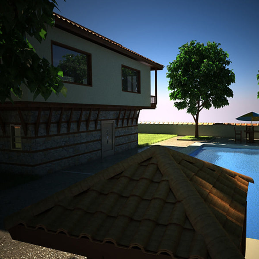 House With Swimming Pool royalty-free 3d model - Preview no. 13