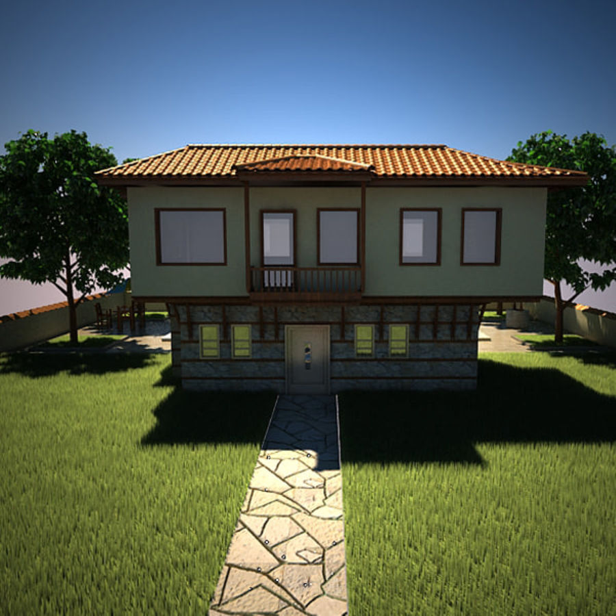 House With Swimming Pool royalty-free 3d model - Preview no. 10